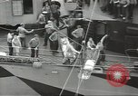 Image of Transferring wounded between ships on Stokes stretcher Mariana Islands, 1944, second 28 stock footage video 65675062231