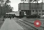 Image of A-4 missile towed for simulated launch at Test Stand 5 Peenemunde Germany, 1943, second 10 stock footage video 65675062547