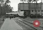 Image of A-4 missile towed for simulated launch at Test Stand 5 Peenemunde Germany, 1943, second 13 stock footage video 65675062547
