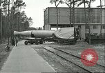 Image of A-4 missile towed for simulated launch at Test Stand 5 Peenemunde Germany, 1943, second 17 stock footage video 65675062547