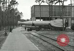 Image of A-4 missile towed for simulated launch at Test Stand 5 Peenemunde Germany, 1943, second 19 stock footage video 65675062547