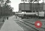 Image of A-4 missile towed for simulated launch at Test Stand 5 Peenemunde Germany, 1943, second 20 stock footage video 65675062547
