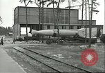 Image of A-4 missile towed for simulated launch at Test Stand 5 Peenemunde Germany, 1943, second 22 stock footage video 65675062547