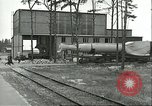 Image of A-4 missile towed for simulated launch at Test Stand 5 Peenemunde Germany, 1943, second 23 stock footage video 65675062547