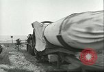 Image of A-4 missile towed for simulated launch at Test Stand 5 Peenemunde Germany, 1943, second 29 stock footage video 65675062547