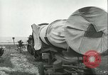 Image of A-4 missile towed for simulated launch at Test Stand 5 Peenemunde Germany, 1943, second 30 stock footage video 65675062547