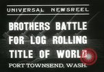 Image of log-rolling championship Port Townsend Washington USA, 1937, second 8 stock footage video 65675062689