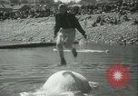 Image of log-rolling championship Port Townsend Washington USA, 1937, second 31 stock footage video 65675062689