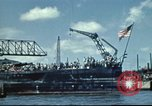 Image of USS Nevada leaving drydock after repairs Pearl Harbor Hawaii USA, 1942, second 5 stock footage video 65675062939