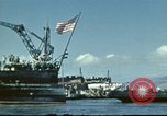 Image of USS Nevada leaving drydock after repairs Pearl Harbor Hawaii USA, 1942, second 15 stock footage video 65675062939