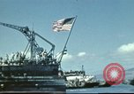 Image of USS Nevada leaving drydock after repairs Pearl Harbor Hawaii USA, 1942, second 29 stock footage video 65675062939