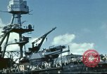 Image of USS Nevada leaving drydock after repairs Pearl Harbor Hawaii USA, 1942, second 39 stock footage video 65675062939