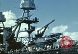 Image of USS Nevada leaving drydock after repairs Pearl Harbor Hawaii USA, 1942, second 43 stock footage video 65675062939