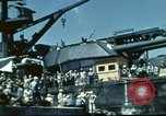 Image of USS Nevada leaving drydock after repairs Pearl Harbor Hawaii USA, 1942, second 46 stock footage video 65675062939