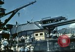 Image of USS Nevada leaving drydock after repairs Pearl Harbor Hawaii USA, 1942, second 47 stock footage video 65675062939