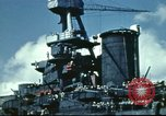 Image of USS Nevada leaving drydock after repairs Pearl Harbor Hawaii USA, 1942, second 61 stock footage video 65675062939