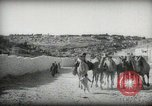 Image of Small boy walking with camels Amman Transjordan, 1945, second 13 stock footage video 65675062976
