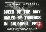 Image of Queen of the May San Francisco California USA, 1937, second 1 stock footage video 65675063189