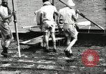 Image of Harvard 8 man crew participating in regatta on Thames River at New Lon New London Connecticut USA, 1900, second 19 stock footage video 65675063383