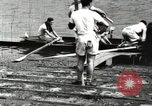 Image of Harvard 8 man crew participating in regatta on Thames River at New Lon New London Connecticut USA, 1900, second 24 stock footage video 65675063383