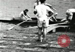 Image of Harvard 8 man crew participating in regatta on Thames River at New Lon New London Connecticut USA, 1900, second 25 stock footage video 65675063383