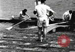 Image of Harvard 8 man crew participating in regatta on Thames River at New Lon New London Connecticut USA, 1900, second 26 stock footage video 65675063383