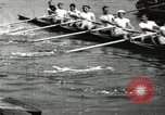 Image of Harvard 8 man crew participating in regatta on Thames River at New Lon New London Connecticut USA, 1900, second 31 stock footage video 65675063383