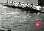 Image of Harvard 8 man crew participating in regatta on Thames River at New Lon New London Connecticut USA, 1900, second 32 stock footage video 65675063383