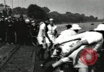 Image of Harvard 8 man crew participating in regatta on Thames River at New Lon New London Connecticut USA, 1900, second 51 stock footage video 65675063383