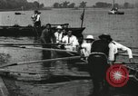 Image of Harvard 8 man crew participating in regatta on Thames River at New Lon New London Connecticut USA, 1900, second 57 stock footage video 65675063383