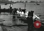 Image of Harvard 8 man crew participating in regatta on Thames River at New Lon New London Connecticut USA, 1900, second 58 stock footage video 65675063383