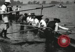 Image of Harvard 8 man crew participating in regatta on Thames River at New Lon New London Connecticut USA, 1900, second 59 stock footage video 65675063383