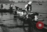 Image of Harvard 8 man crew participating in regatta on Thames River at New Lon New London Connecticut USA, 1900, second 61 stock footage video 65675063383