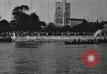 Image of Scenes from an annual Harvard and Yale rowing race on the Thames River New London Connecticut USA, 1900, second 43 stock footage video 65675063384