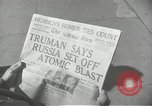 Image of Soviet Union first atomic bomb test revealed New York City USA, 1949, second 46 stock footage video 65675063476