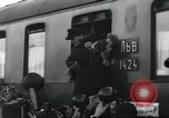 Image of Large crowd greets passenger arriving at train station Soviet Union, 1953, second 28 stock footage video 65675063498