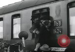Image of Large crowd greets passenger arriving at train station Soviet Union, 1953, second 30 stock footage video 65675063498