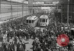 Image of trolleys outside factory United States USA, 1918, second 10 stock footage video 65675063746