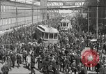 Image of trolleys outside factory United States USA, 1918, second 15 stock footage video 65675063746