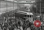 Image of trolleys outside factory United States USA, 1918, second 18 stock footage video 65675063746