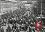 Image of trolleys outside factory United States USA, 1918, second 24 stock footage video 65675063746