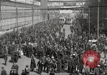 Image of trolleys outside factory United States USA, 1918, second 25 stock footage video 65675063746