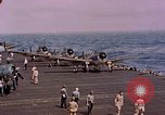 Image of F6Fs and SBD Douglas Dauntless on flight deck of USS Lexington Pacific Ocean, 1944, second 50 stock footage video 65675071278