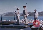 Image of Change of Command ceremony aboard battleship Pacific Theater, 1944, second 32 stock footage video 65675071668