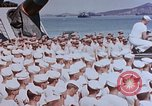 Image of Change of Command ceremony aboard battleship Pacific Theater, 1944, second 38 stock footage video 65675071668