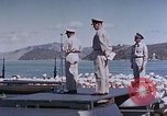 Image of Change of Command ceremony aboard battleship Pacific Theater, 1944, second 46 stock footage video 65675071668