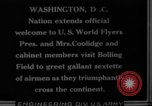 Image of President Coolidge and Secretary of War, Weeks, greet fliers Washington DC USA, 1924, second 4 stock footage video 65675071969