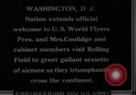 Image of President Coolidge and Secretary of War, Weeks, greet fliers Washington DC USA, 1924, second 9 stock footage video 65675071969