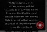 Image of President Coolidge and Secretary of War, Weeks, greet fliers Washington DC USA, 1924, second 14 stock footage video 65675071969