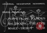 Image of puppets Paris France, 1933, second 7 stock footage video 65675072247